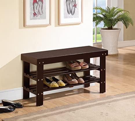 Nice Espresso Finish Solid Wood Storage Shoe Bench Shelf Rack