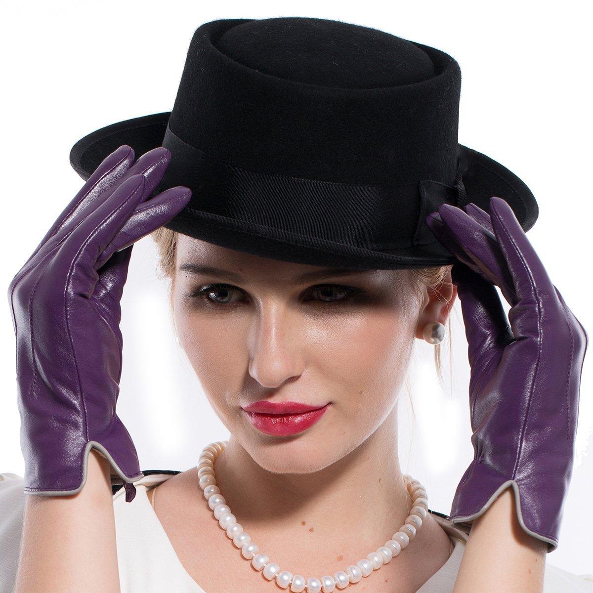 MATSU Women Winter Warm Leather 100% Cashmere lined Gloves TouchScreen 5 Colors M9906 (XL, Purple-TouchScreen)