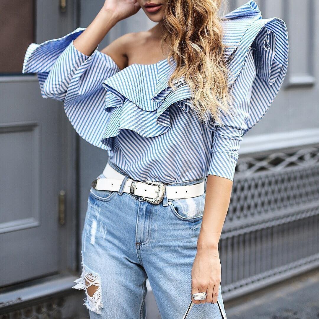 FlowerKui Nuevo estilo Camisa de algodón de rayas azules con ...