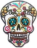Parches - calavera esqueleto - blanco - 6.5x8.7cm - termoadhesivos bordados aplique para ropa