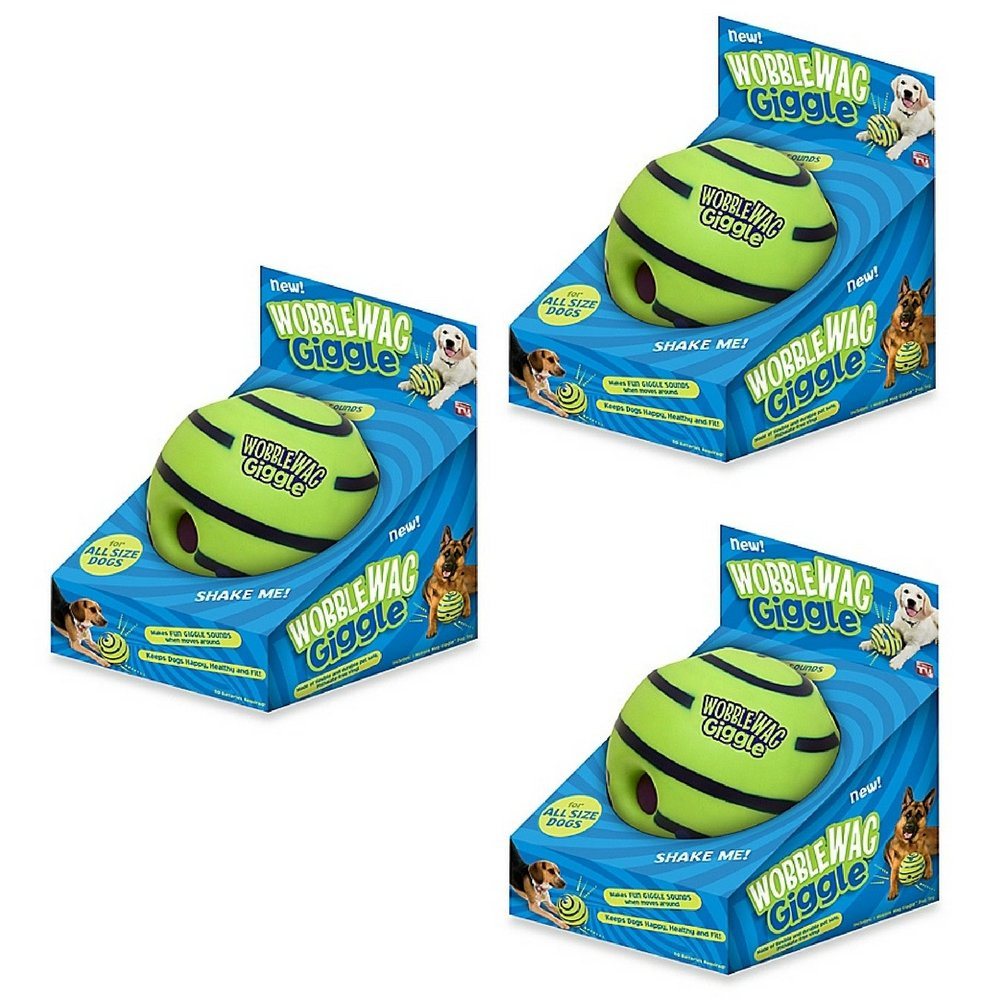 Wobble Wag Giggle Ball Dog Toy (3 pack)