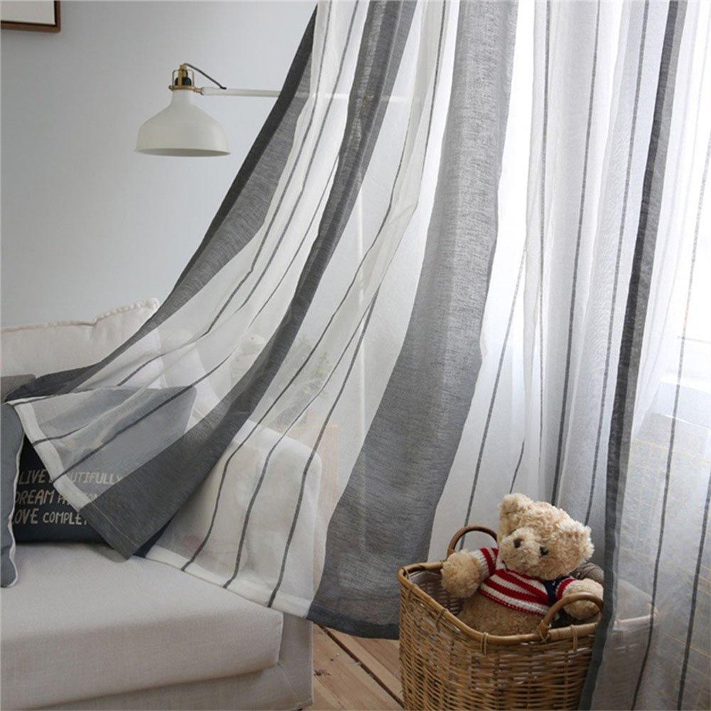 Tende per porte e finestre motivo a righe decorazione per camera da letto Tangbasi in tessuto voile sottile