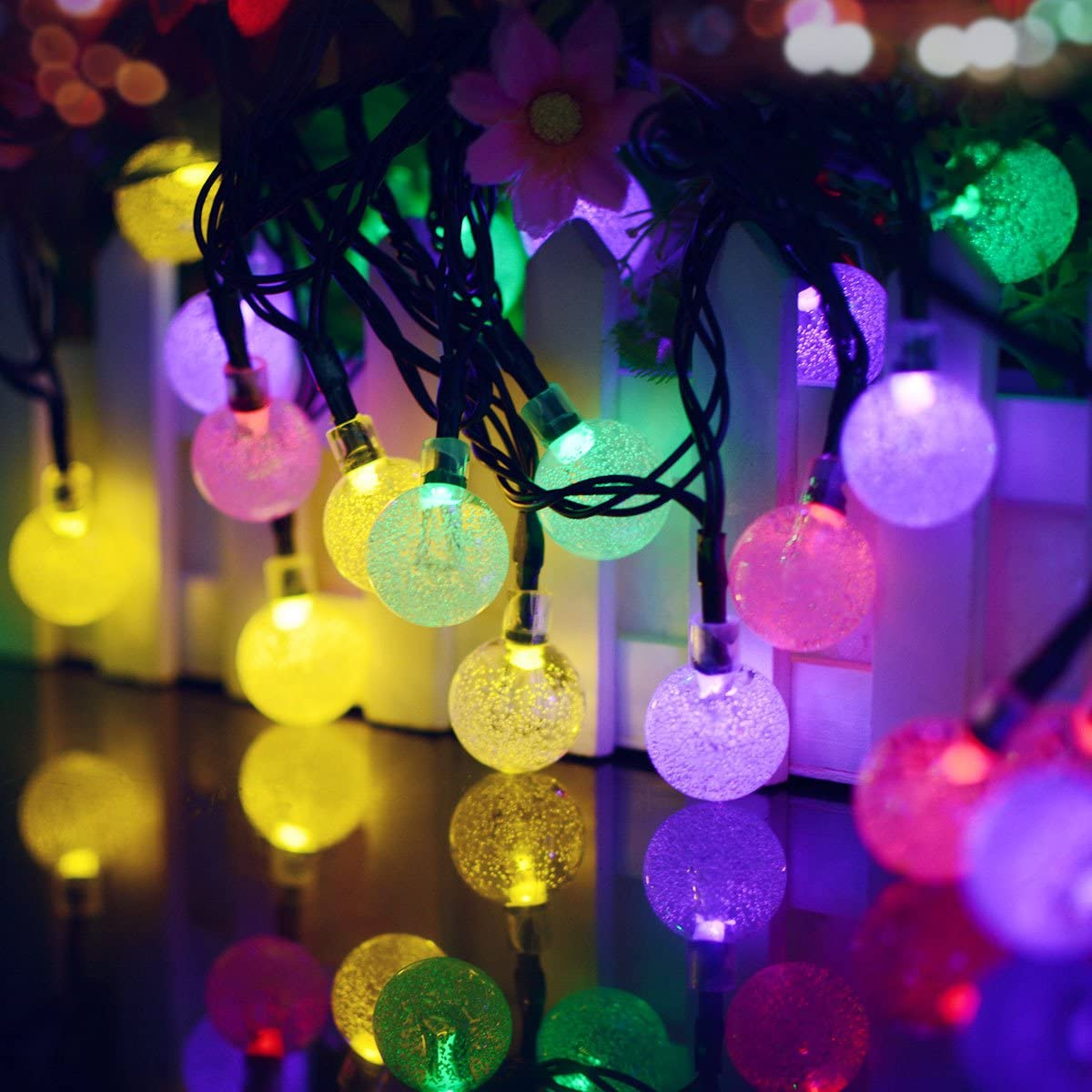 25 feet 40 LED Crystal Ball waterproof Solar Powered String Lights 8 Modes Fairy Lighting for Garden Window lawn Patio Home Xmas Tree Wedding Party Holiday Decorations Commercial Promo (Multicolor)