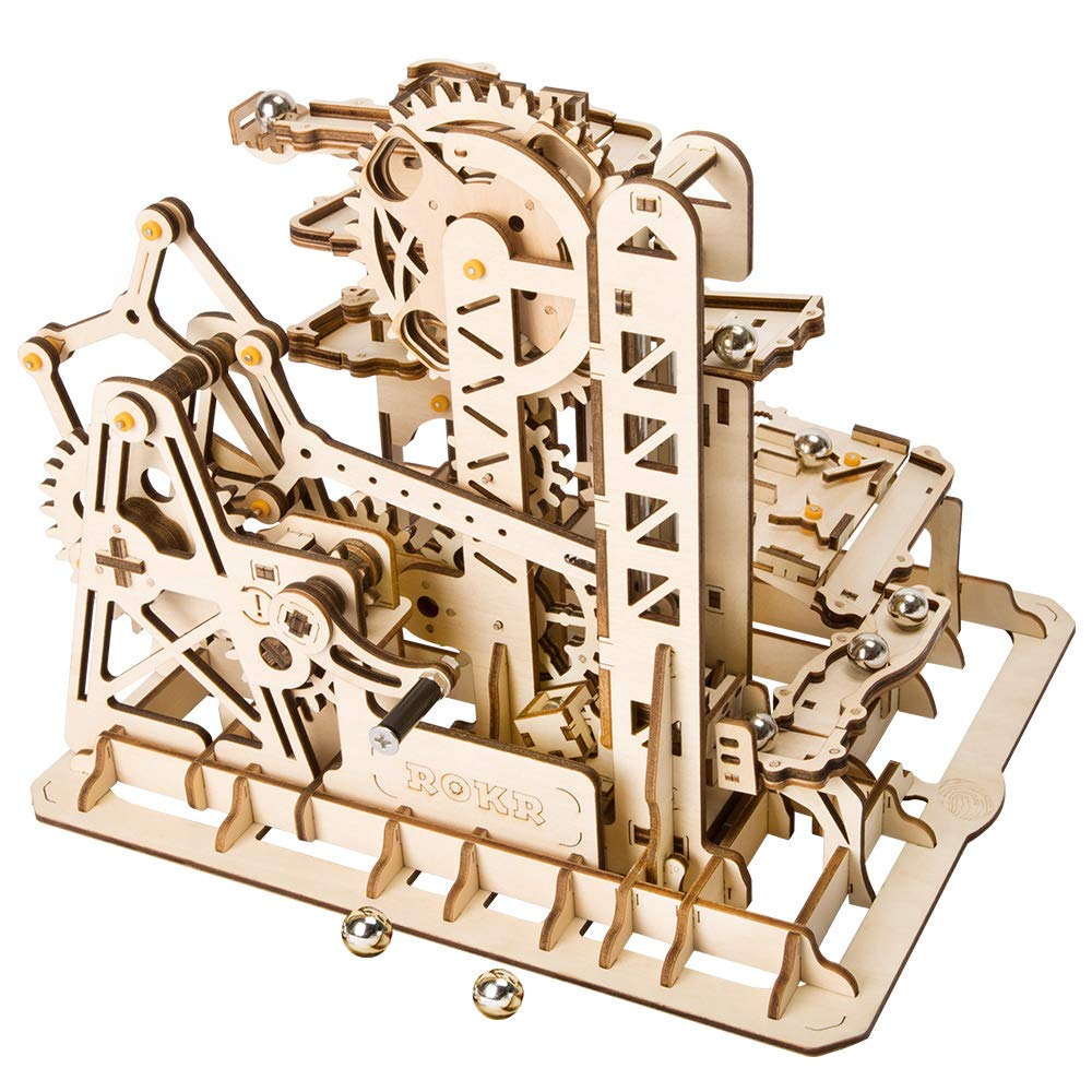 ROBOTIME 3D Wooden Puzzle Brain Teaser Toys Mechanical Gears Kit Unique Craft Kits Tower Coaster with Steel Balls Executive Desk Toys Best Gifts for Adults and Kids by ROBOTIME