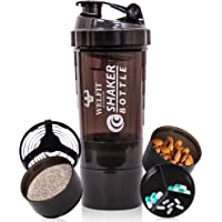 ASU Protein Shaker Bottles For Protein Mixes Spider Blender Bottle With Stainless Steel Ball-500ML 2 Twist On Cups For…