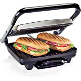 Hamilton Beach Panini Press, Sandwich Maker & Electric Indoor Grill, Upright Storage, Nonstick Easy Clean Grids, Stainless St