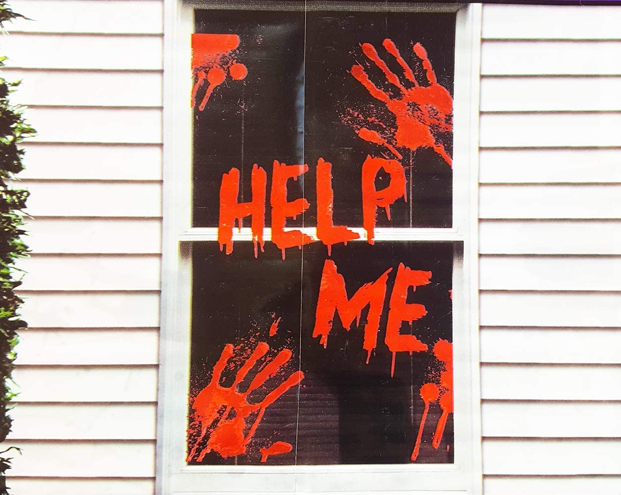 Help ME Window Cover Bloody Hands Mural Halloween Decorations - Scary Halloween Window Decor (30 x 48 inches)
