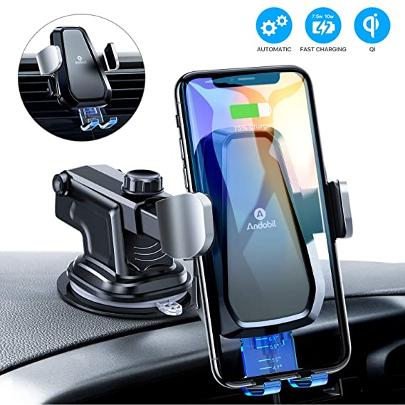 andobil Wireless Car Charger Mount, Auto Clamping Air Vent Dashboard Windshield Phone Holder Compatible iPhone 11/11 Pro/ 11 Pro Max /Xs ...