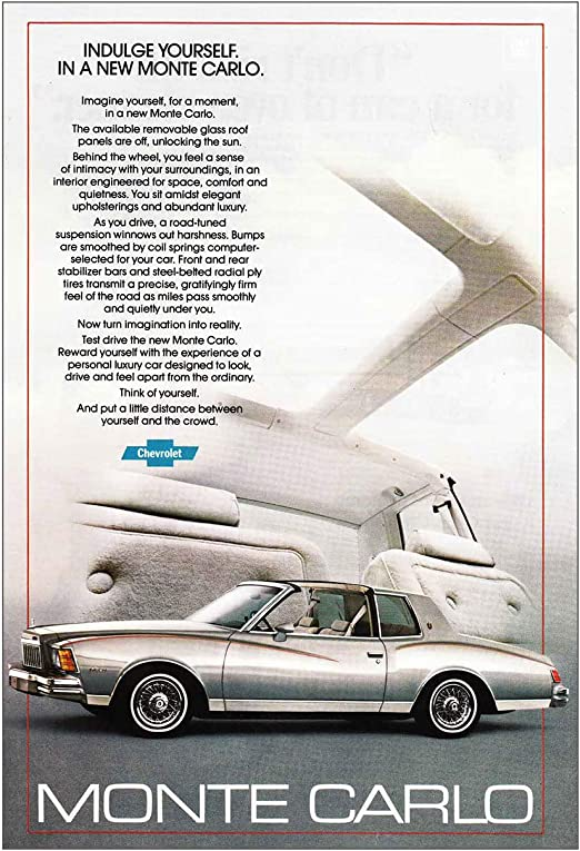 Amazon Com Relicpaper 1979 Chevrolet Monte Carlo Indulge Yourself Chevrolet Print Ad Posters Prints