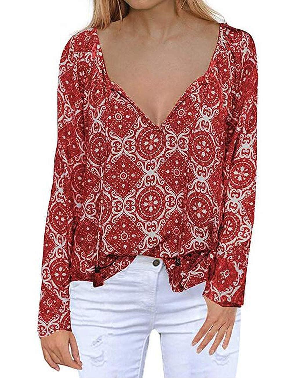 b620dc6b8fa Womens Long Sleeve Chiffon Blouse V Neck Floral Print Loose Fit Shirt Tops  at Amazon Women's Clothing store: