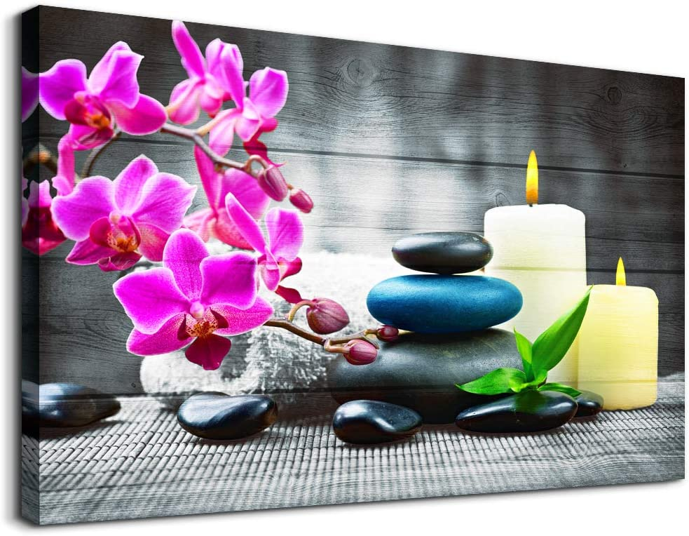 Farmhouse Wall Decor for kitchen canvas Wall Art for Bedroom Modern Office Wall Decoration Zen Stone Still Life 1 Panel Purple Flowers Bathroom Canvas art Paintings - HD wall Pictures for Home Decor