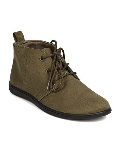 FH51 Women Faux Suede Round Toe Lace Up Desert Bootie