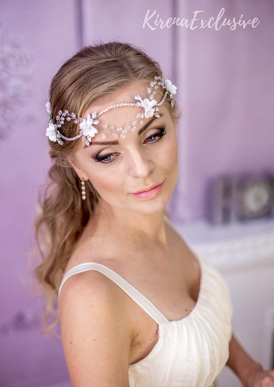 Women Wedding Bride Princess Crown Flower Hair Jewelry Accessories Clip Pins SC