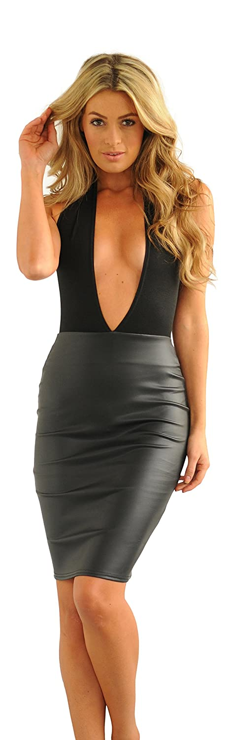 Glamzam Women's Talia Leather Wet Look Skirt Halterneck Midi Dress