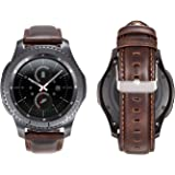 Gear S3 Band, Directa 22mm Leather Strap for Man and Women Italian Oil Watch Band 22mm