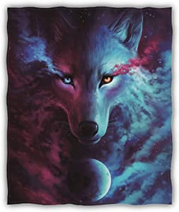 "Hooome Thick Wolf Dream Catcher Blanket,Super Soft Full/Throw Size 50"" x 60"",Luxury Plush Fleece Blanket for Sofa Bed Office Gifts"