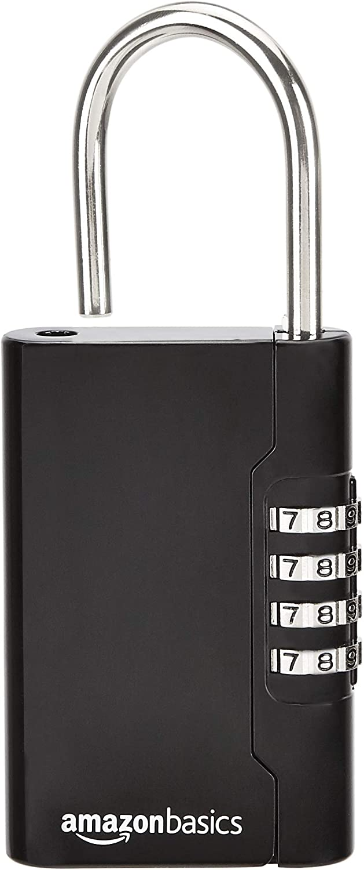 4-stelliges Zahlenschloss schwarz AB-LB104 Tragbarer Schl/üsseltresor Basics 1 St/ück
