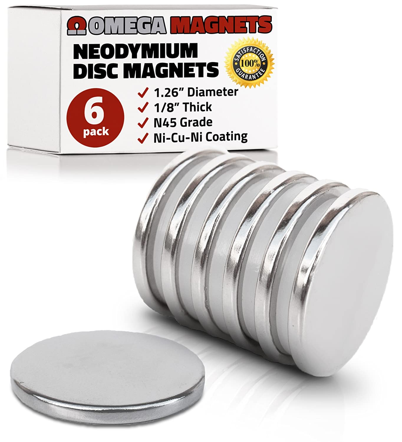 "Strong Neodymium Disc Magnets (6 Pack) - 2X Stronger, 2X Thicker, Powerful, Small, Round, Rare Earth Magnets - N45 Industrial Strength NdFeB Magnet Set for Fridge, DIY, Crafts - 1.26"" x 1/8"""