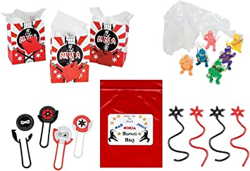 Ninja Warrior Kids Party Favor Bundle Pack 60 pc (12 Treat Bags, 12 Sticky Stars, 12 Disk Shooters, 24 Paratroopers)