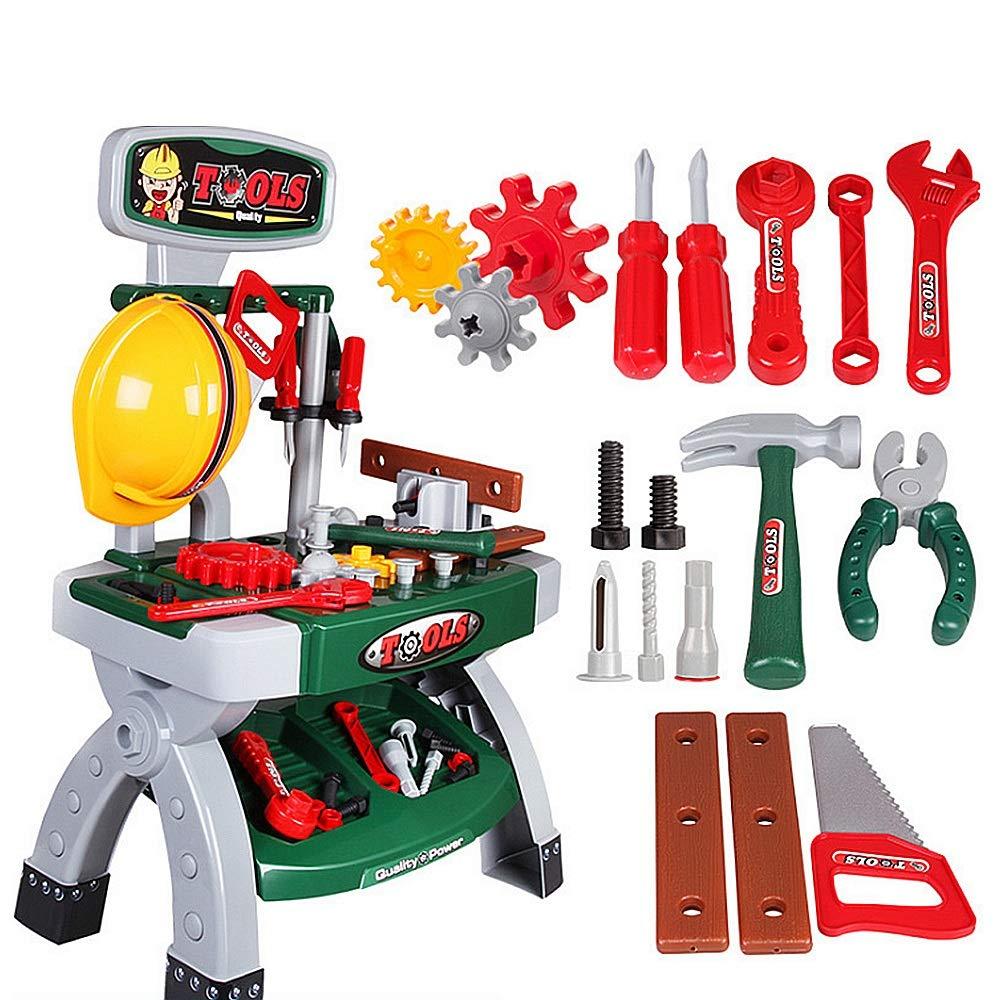 ドールハウス キッズエンジニアリング固定と修復ツールテーブルセットワークショップ玩具現実的なハンギングツール用教育プレイベンチ用幼児用子供男の子女の子年齢2-12玩具セットハンマーレンチ弓のこぎりネイルねじおもちゃ 人形の家具やアクセサリーには以下が含まれます   B07RRZSQ6W