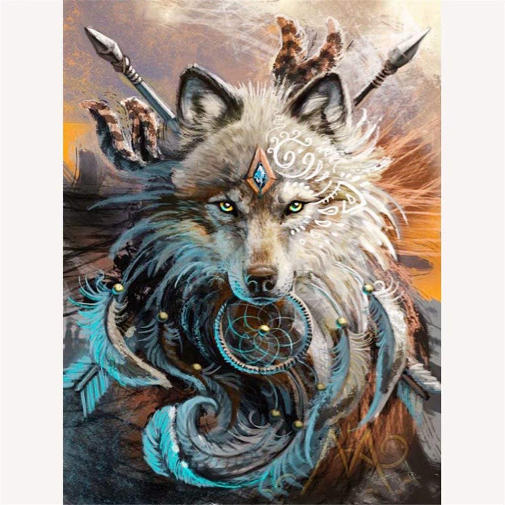 Staron DIY Cross Stitch Kit Crystals Painting 5D Diamond Embroidery Rhinestone Pictures Painting Arts Craft Canvas Wall Decor B Wolf 5D Diamond Painting by Number Kits