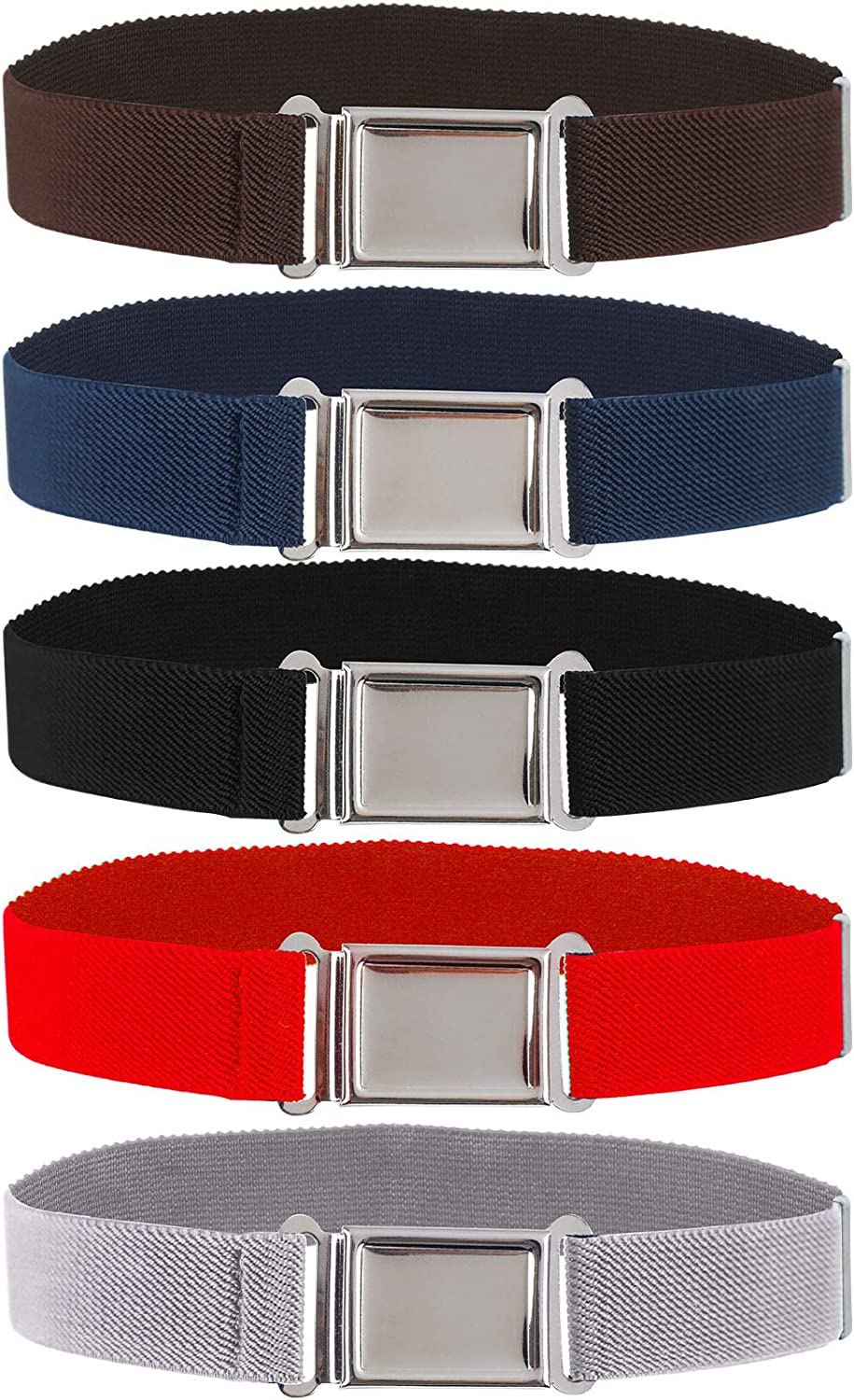 5 Pieces Kids Magnetic Belt Adjustable Fashion Belt with Magnetic Buckle for Boys and Gilrs