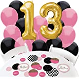 Chic 13th Birthday - Pink, Black and Gold - Confetti and Balloon Party Decorations - Combo Kit