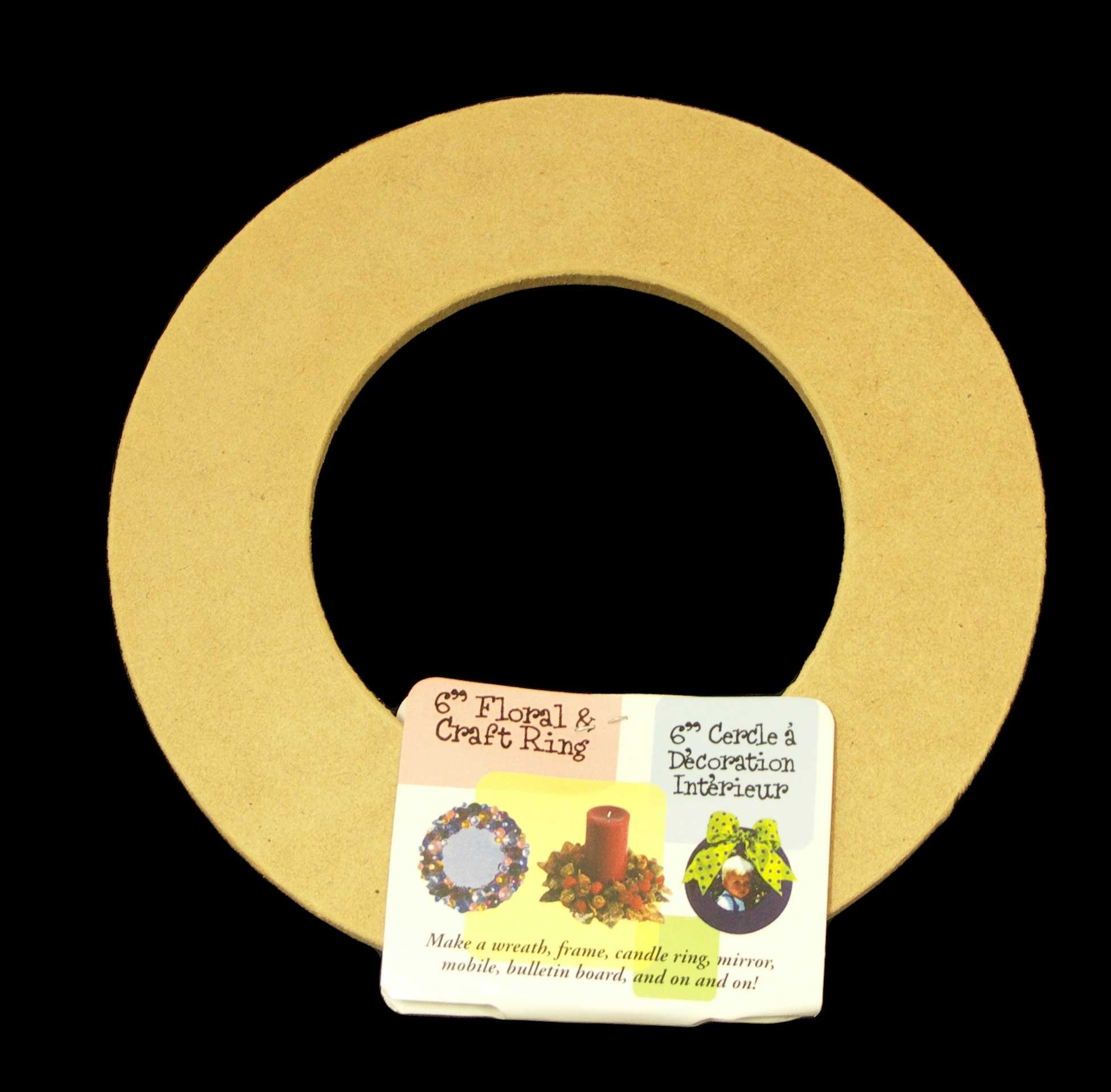 12 Pack, Biodegradable Floral Craft Ring, 6'', Ez Glueable Wreath Form, for Photo Frame, Candle Ring Etc