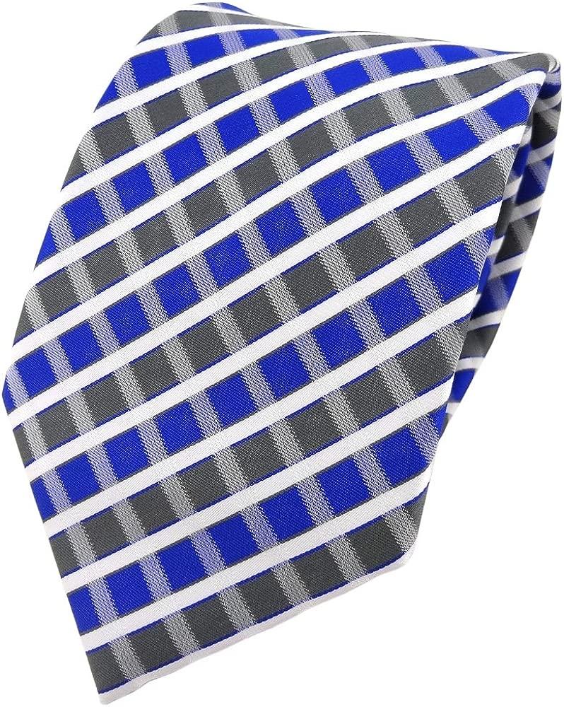 TigerTie - Corbata - azul gris plata blanco rayas: Amazon.es: Ropa ...