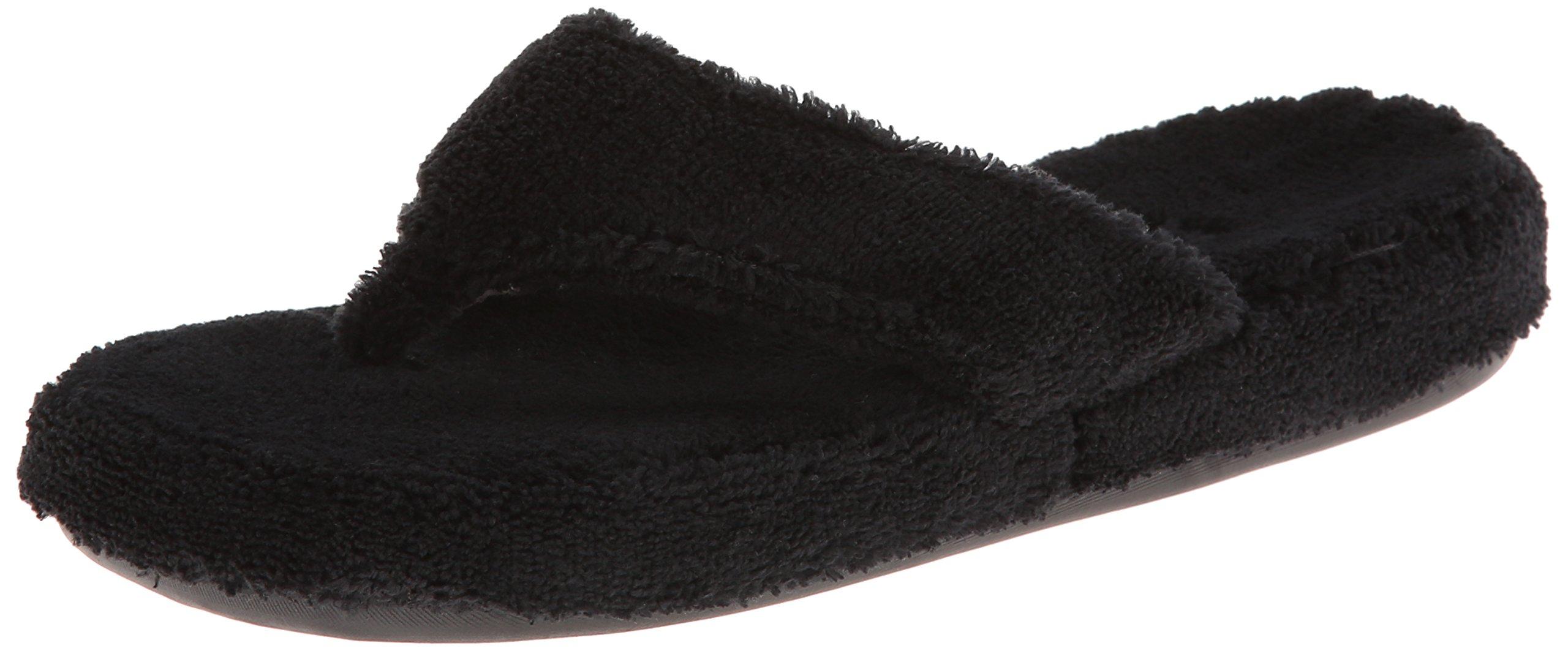 Acorn Women's Spa Thong Slipper, Black, Large / 8-9 B(M) US