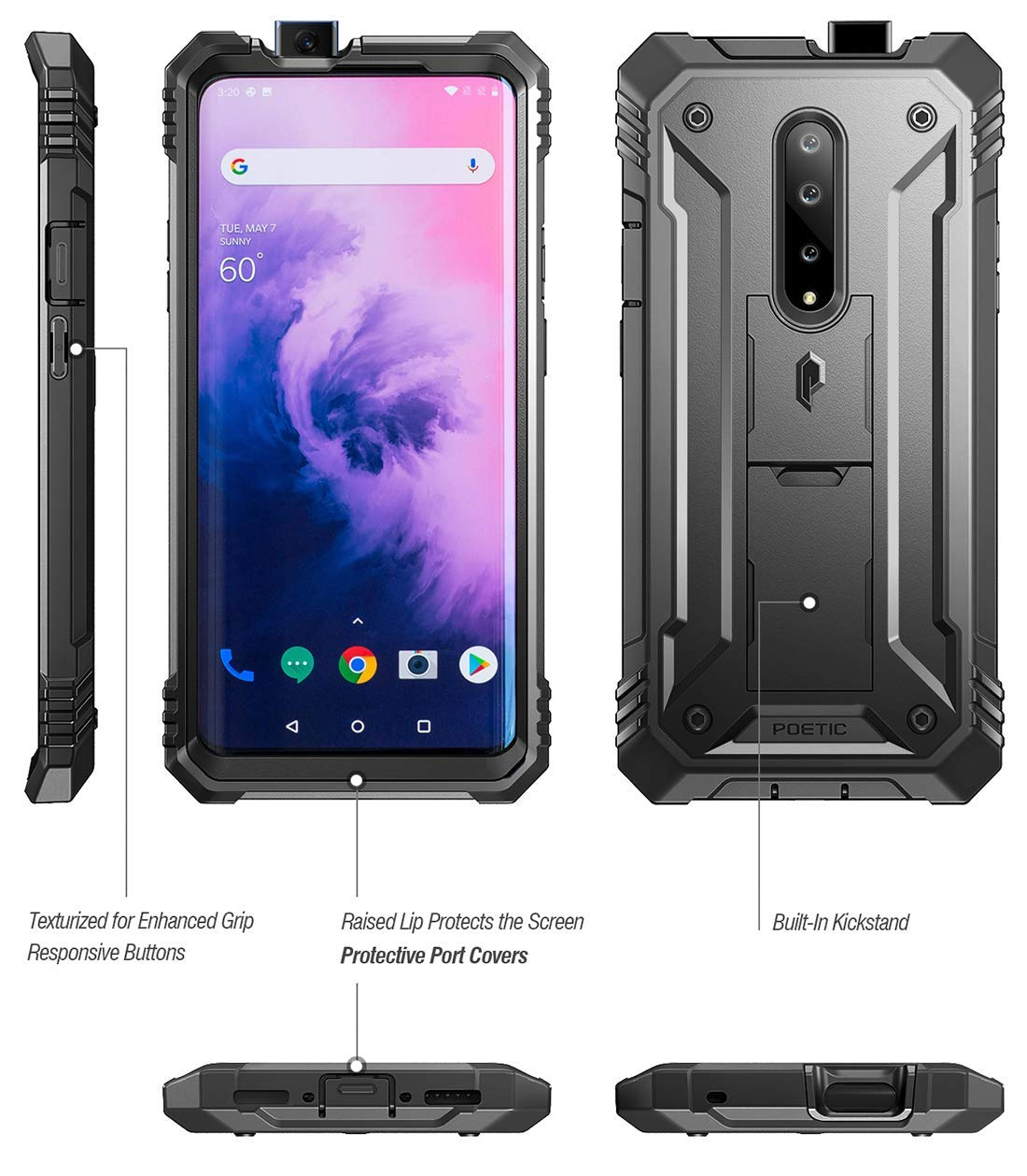 Poetic OnePlus 7 Pro Rugged Case with Kickstand, Full-Body Dual-Layer Shockproof Protective Cover, Built-in-Screen Protector, Revolution Series, for ...
