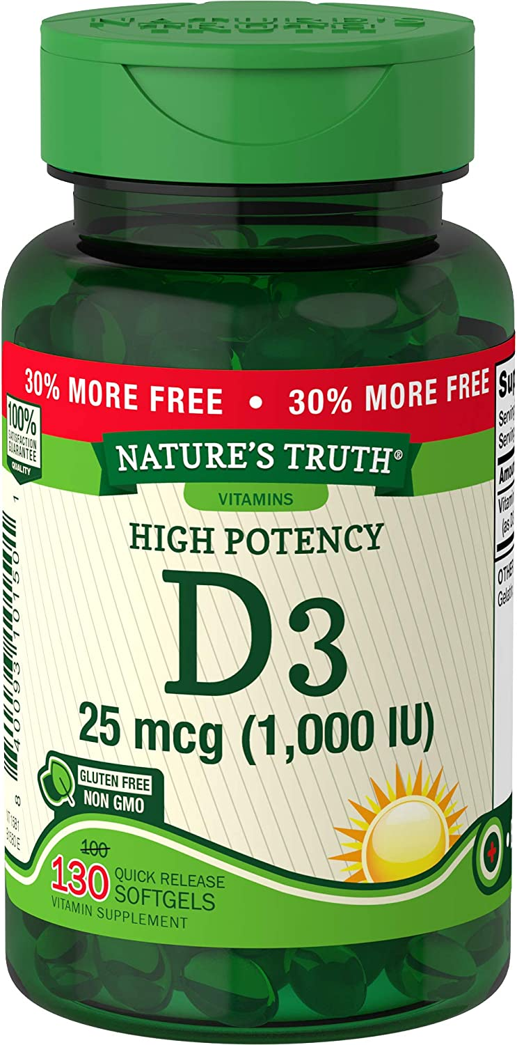 Vitamin D3 1000 IU | 130 Softgels | High Potency D | Non-GMO, Gluten Free, Soy Free | by Nature's Truth