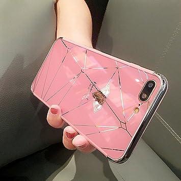 Etsue Espejo Funda iPhone 7,iPhone 8 Carcasa Silicona Bling Brillante Brillar Brillo Espejo Reflejo Diamante Funda Pluma Dibujos Purpurina Metal Funda ...