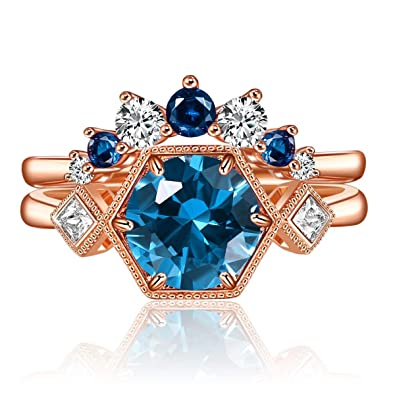 Shengtai Floral Crystal Promise Ring for Her Rose Gold Plated Countess Engagement Wedding Bands Elegant Bridal Jewelry for Women Comfort Fit Size 5 to 10