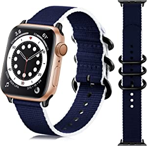 Getino Compatible with 38mm 40mm Apple Watch Bands Women Men, Stylish Sport Military-Style Stripe iWatch Nylon Bands with Metal Buckle fit with iWatch SE Series 6 5 4 3 2 1, Navy/ White