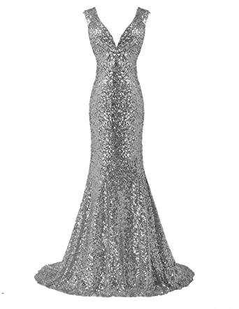 LanierWedding Gold Sequins Mermaid V Neck Bridesmaid Dresses Plus Size Prom  Dresses (6, Silver)