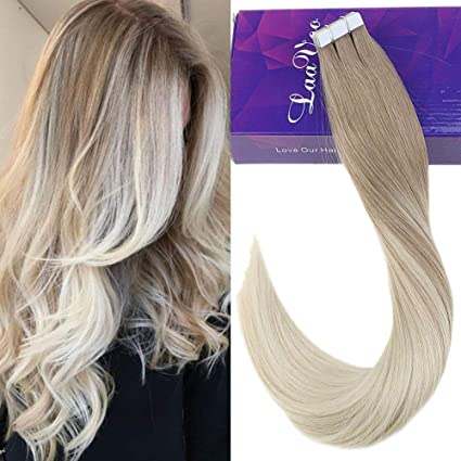 Laavoo 14pollici Tape Extension Capelli Veri Biondo Cenere E Bionda Platino Highlighted Real Glue In Hair Extension Adesive Seamless Skin Weft Corto