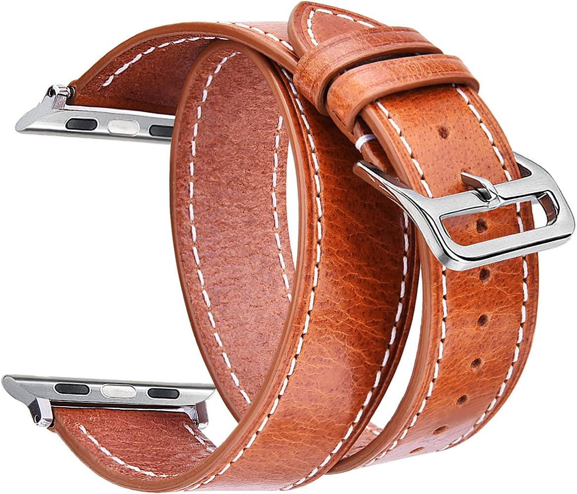 V-MORO Leather Bands Compatible with Apple Watch Band 38mm/40mm Women Men Full Grain Italian Premium Vintage Double Tour Bracelet Replacement for iWatch Series 4/3/2/1 (Brown,38mm/40mm-S/M)