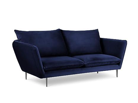 Mazzini Sofas de Terciopelo, Acacia, 3 plazas, Azul Real ...
