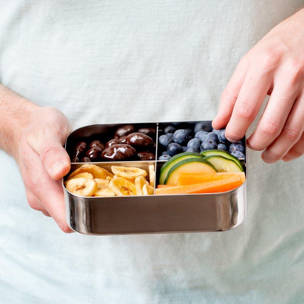Umweltfreundlich Vier Abschnitt Design Perfekt f/ür gesunde Snacks Sp/ülmaschinenfest und BPA frei Komplett Aus Edelstahl Beilagen oder Finger Foods LunchBots Quad Edelstahl Nahrungsmittelbeh/älter