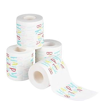 Amazon.com: Papel higiénico de cumpleaños con 4 rollos de ...