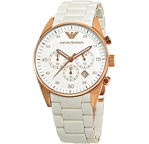 da4e924efd962 Women s Emporio Armani AR5920 White Rose Gold Sportivo Watch  Amazon.co.uk   Watches