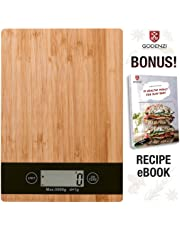Godenzi Kitchen Scale, Bamboo, 5kg Capacity, 1g Division, Multifunction Digital LCD, Tare, with Recipe Ebook & Batteries