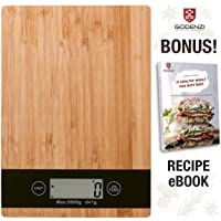 Godenzi Digital Kitchen Scale, Bamboo, 5kg, 1g Division, Multifunction LCD, Tare, with Recipe Ebook & Batteries
