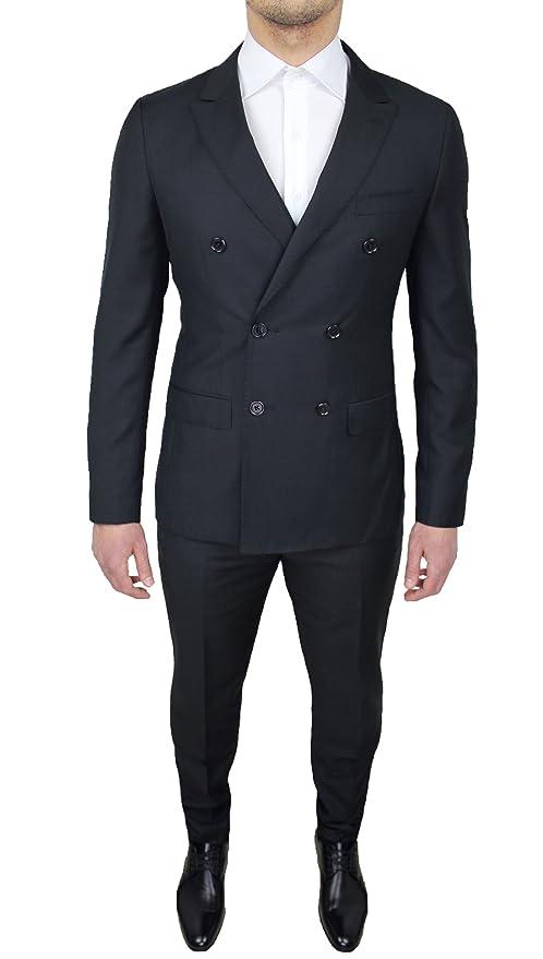 Abito Completo Alta Sartoria Uomo Doppiopetto Nero Vestito Elegante Cerimonia Taglia da 46 a 60