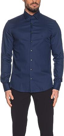 Calvin Klein - Camisa de manga larga para hombre, color azul zafiro turquesa 37: Amazon.es: Ropa y accesorios