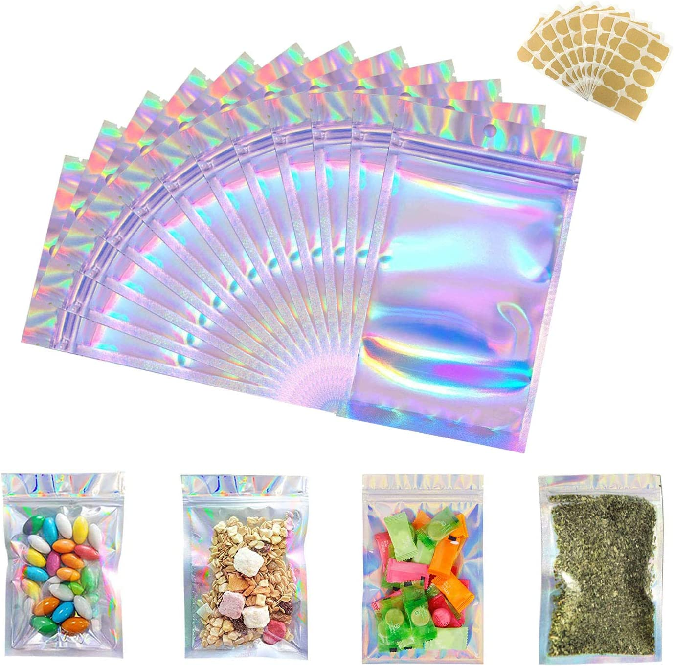 100 Pieces Resealable Smell Proof Bags - 5 x 7 Inch with Recordable Sticker Flat Ziplock Bag for Party Favor Food Storage (Holographic Color)