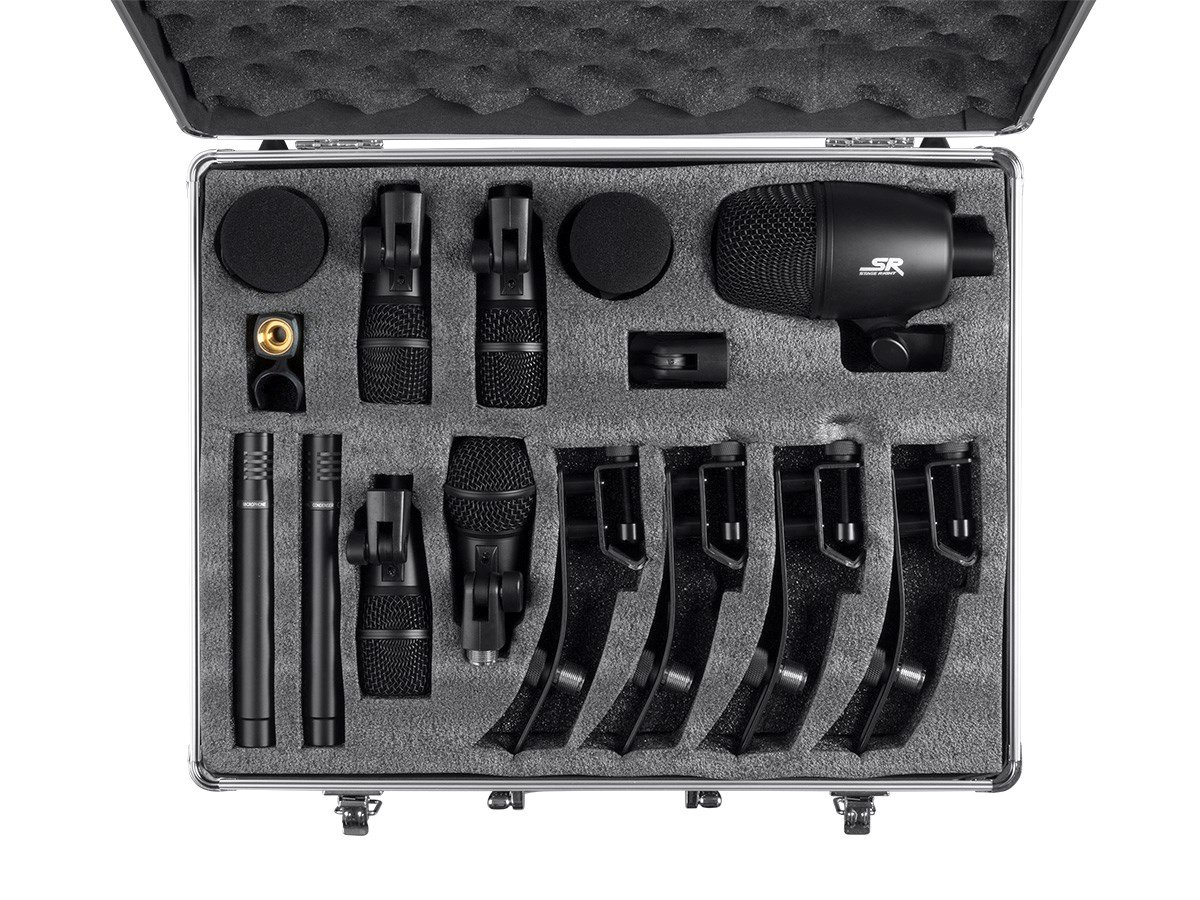 Stage Right 7-piece Drum and Instrument Mic Kit with Mounts Bass, Snare, Tom, Overhead, Drum, Mic, Windscreens, Carrying Case