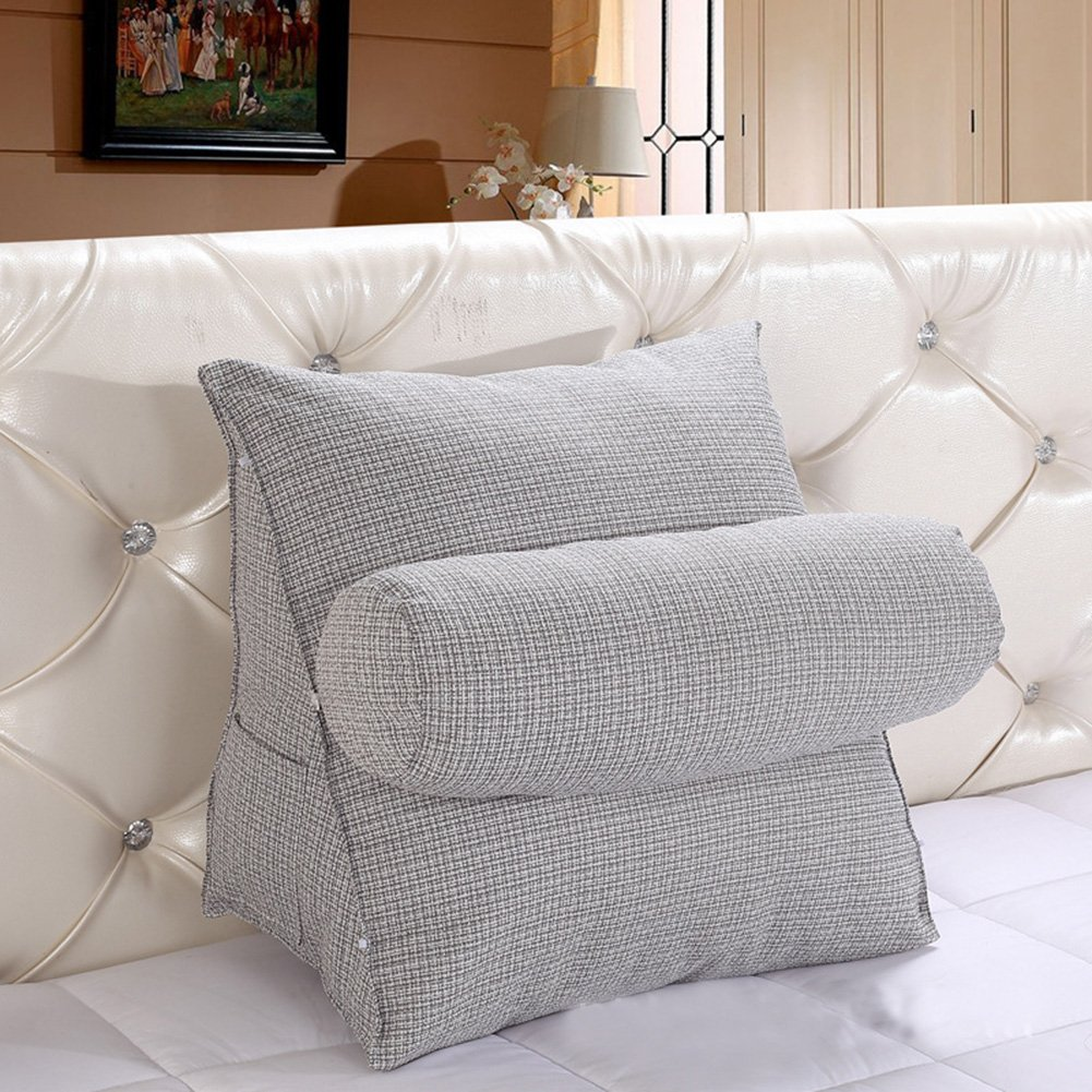 Vercart Sofa Bed Large Upholstered Headboard Filled Triangular Wedge Cushion Bed Backrest Positioning Support Pillow Reading Pillow Office Lumbar Pad with Removable Cover Gray 22x20x12 Inches