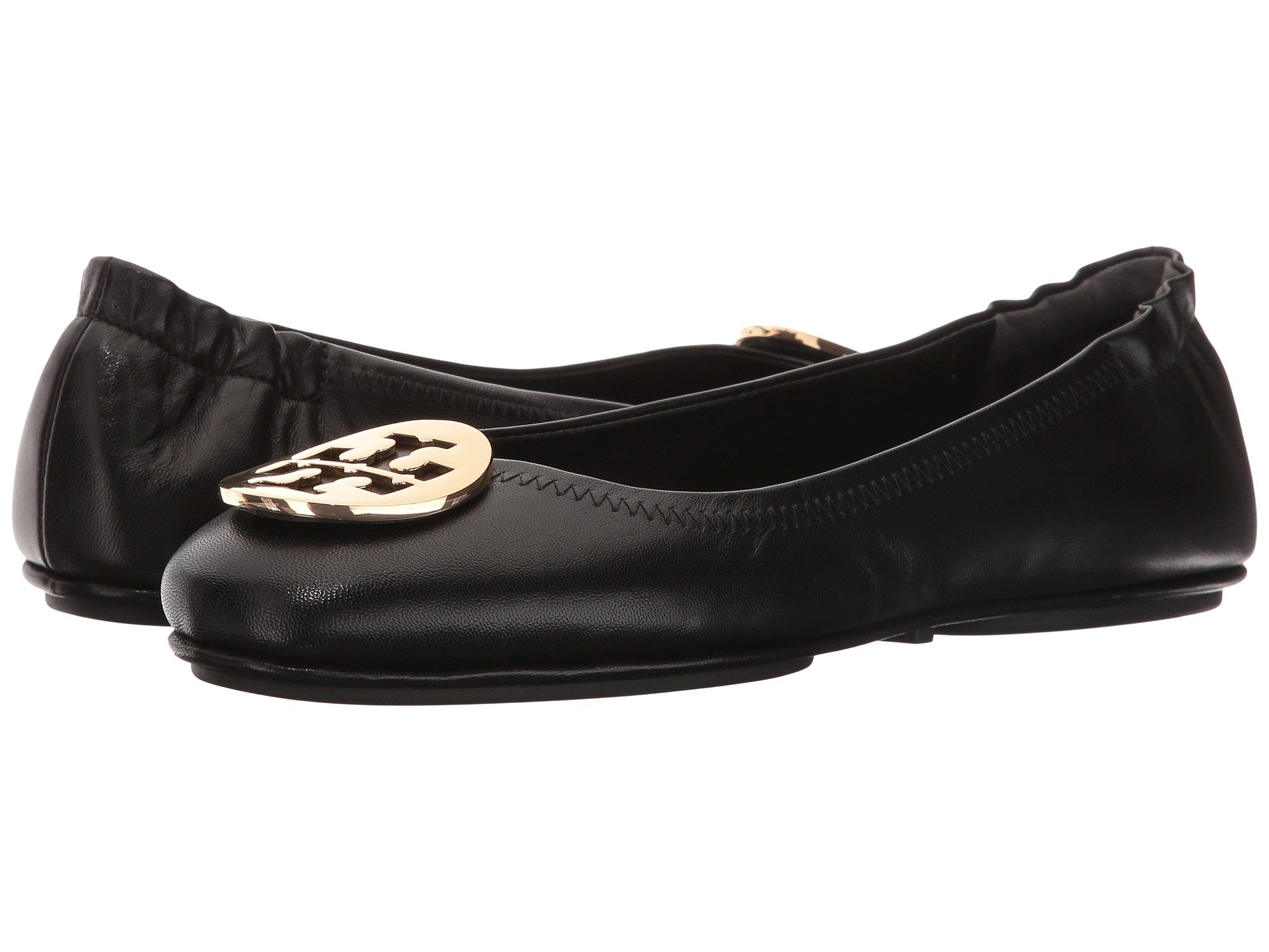 Tory Burch Minnie Travel Leather Ballet Flat - Size 7, Black/Gold
